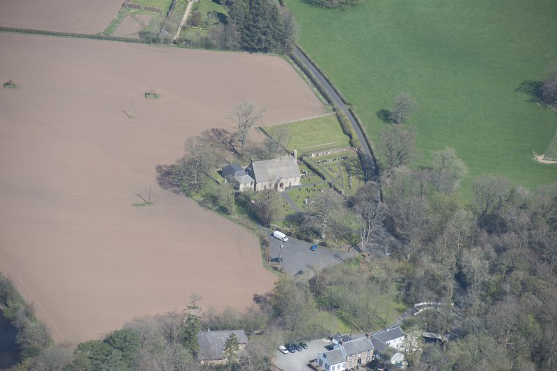 Oblique aerial view of Stair Parish Church, looking N.