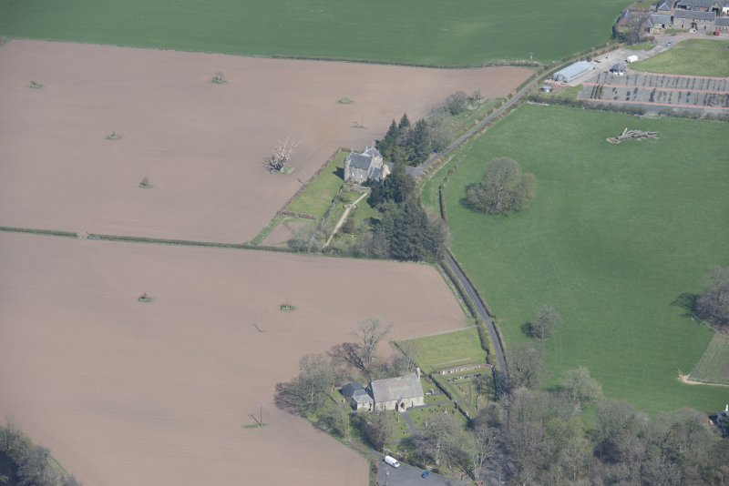 Oblique aerial view of Stair Parish Church and Stair House, looking N.