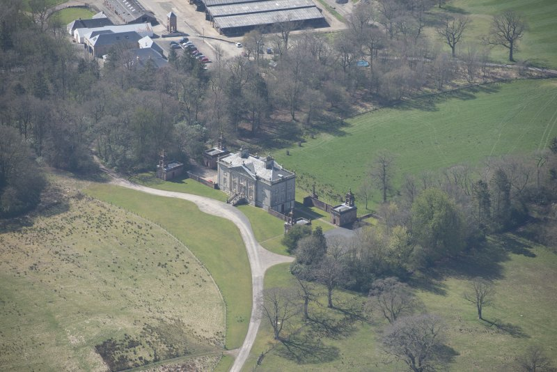 Oblique aerial view of Auchinleck House, looking SSW.