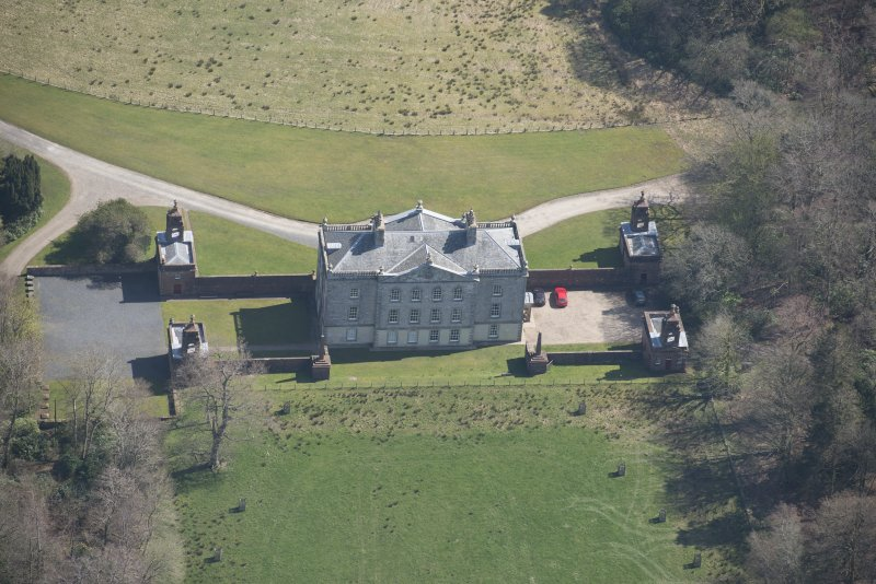 Oblique aerial view of Auchinleck House, looking E.