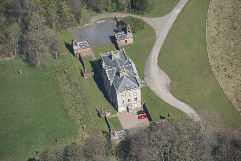 Oblique aerial view of Auchinleck House, looking NNE.