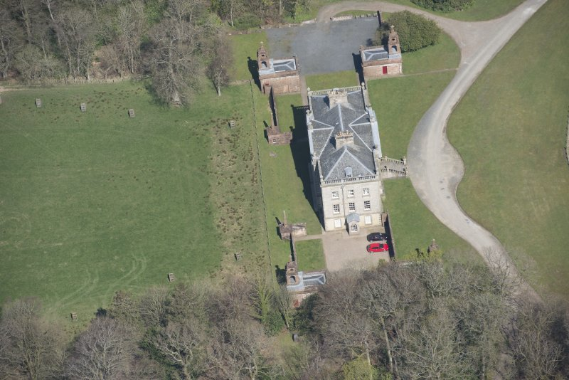 Oblique aerial view of Auchinleck House, looking N.