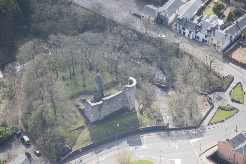 Oblique aerial view of Avondale Castle, looking SSW.