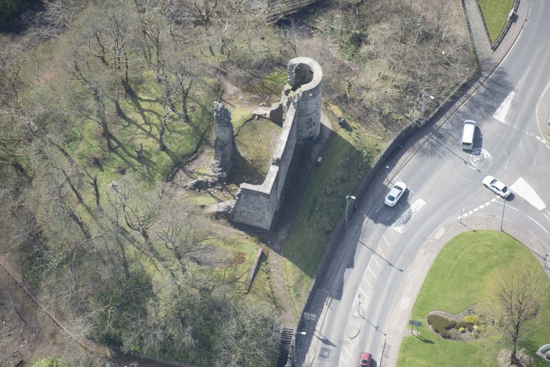 Oblique aerial view of Avondale Castle, looking SW.