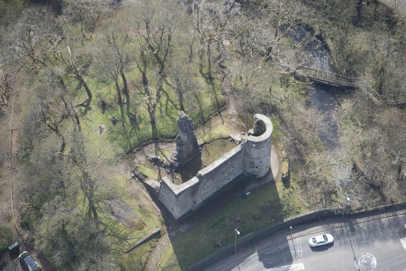 Oblique aerial view of Avondale Castle, looking S.