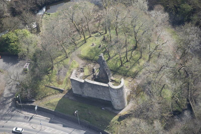 Oblique aerial view of Avondale Castle, looking SE.