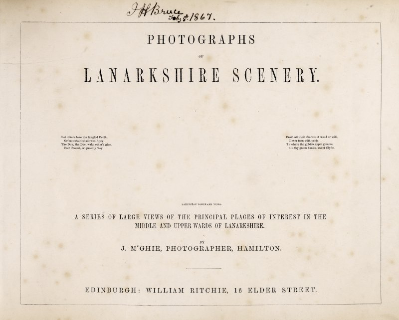 Title page in album 'Photographs of Lanarkshire scenery'.