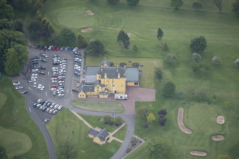 Oblique aerial view of Pitfirrane Castle, looking S.