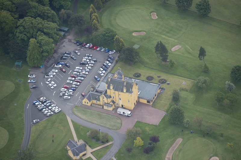 Oblique aerial view of Pitfirrane Castle, looking SSE.