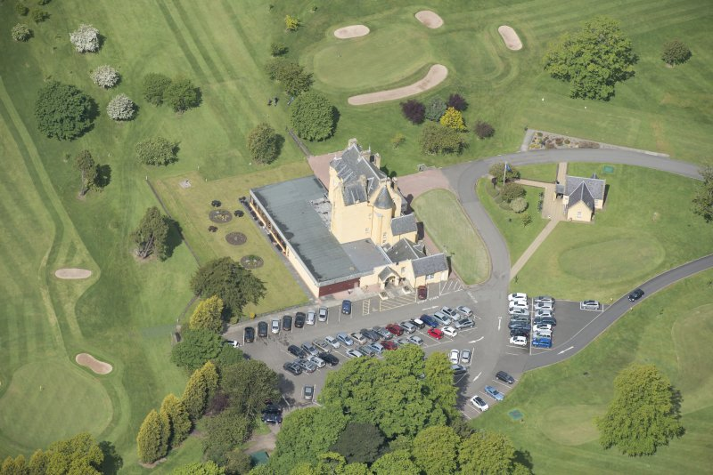 Oblique aerial view of Pitfirrane Castle, looking WNW.