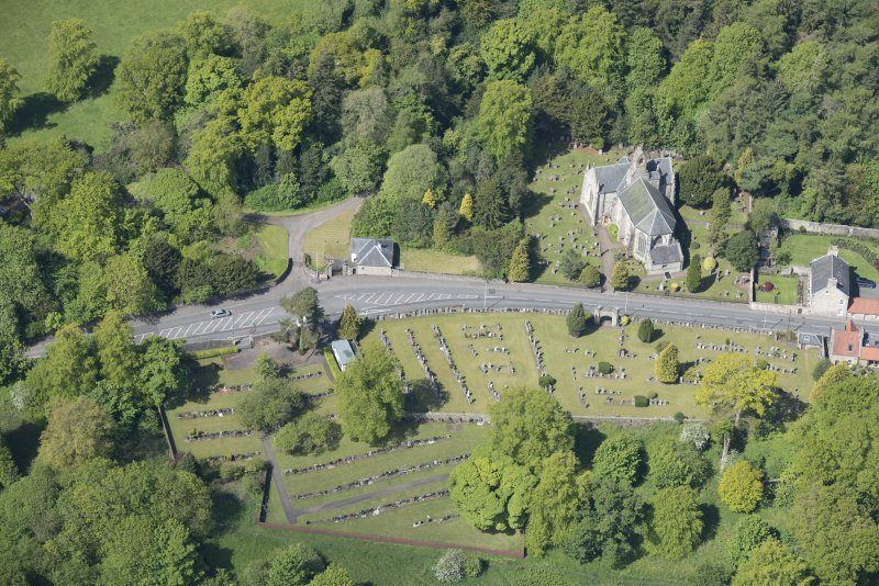 Oblique aerial view of Mid Calder Parish Church, looking WSW.