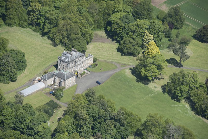 Oblique aerial view of The Drum Country House, looking NNW.