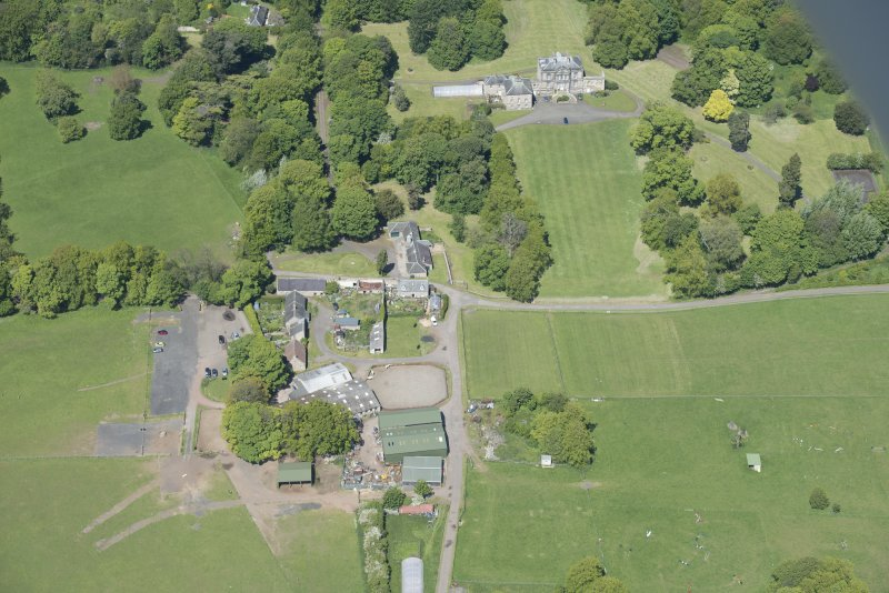 Oblique aerial view of The Drum Country House and The Drum Farm, looking NW.