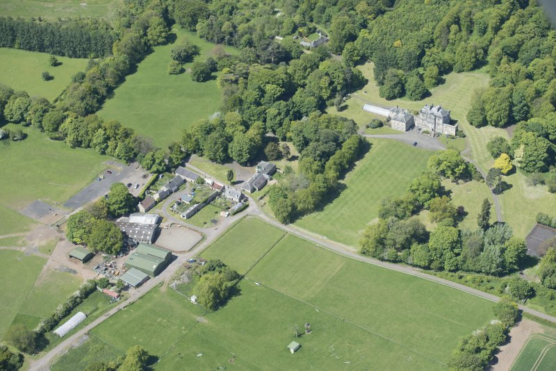 Oblique aerial view of The Drum Country House and Drum Farm, looking WNW.