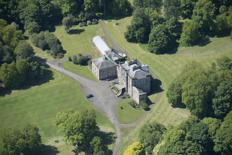 Oblique aerial view of The Drum Country House, looking WSW.