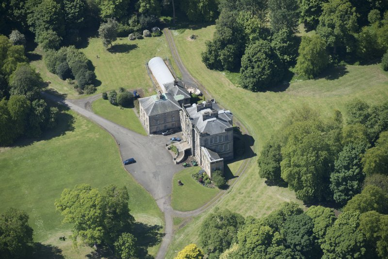 Oblique aerial view of The Drum Country House, looking SSW.