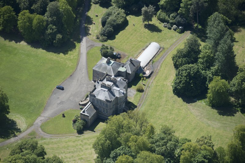 Oblique aerial view of The Drum Country House, looking S.