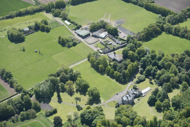 Oblique aerial view of The Drum Country House and The Drum Farm, looking S.