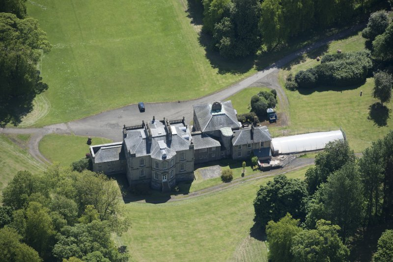 Oblique aerial view of The Drum Country House, looking SSE.