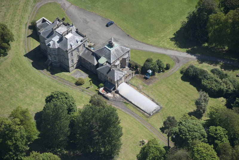 Oblique aerial view of The Drum Country House, looking ESE.