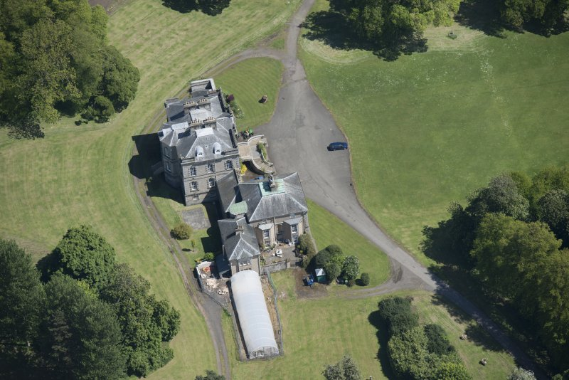 Oblique aerial view of The Drum Country House, looking ENE.