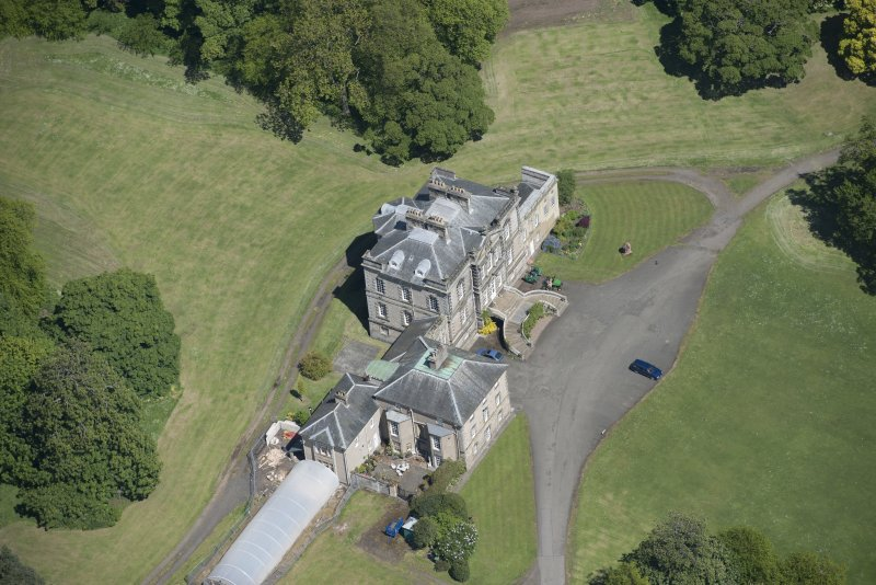 Oblique aerial view of The Drum Country House, looking NE.