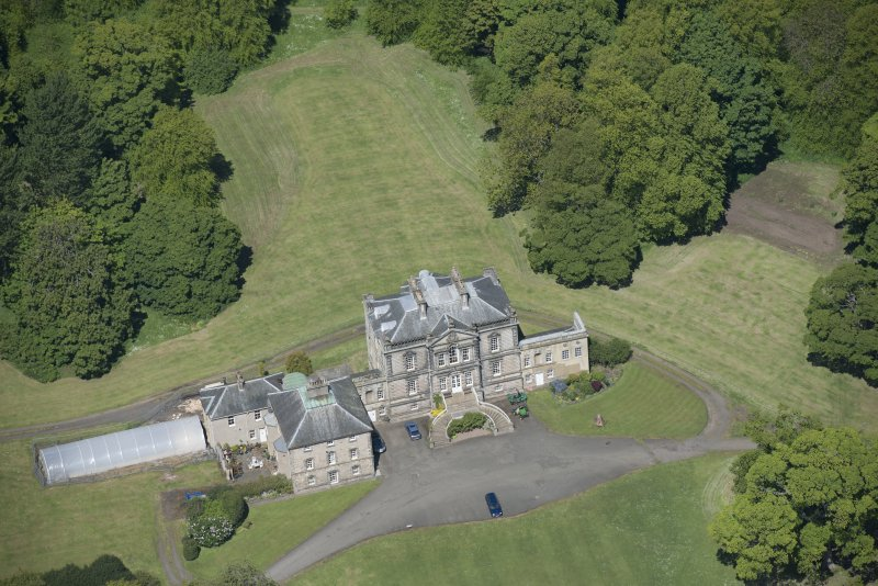 Oblique aerial view of The Drum Country House, looking NW.