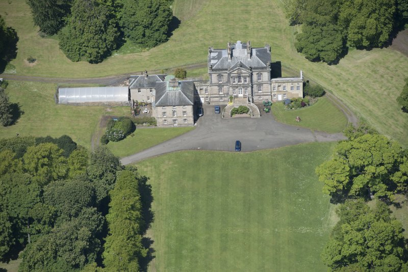 Oblique aerial view of The Drum Country House, looking WNW.