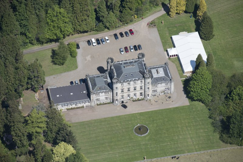 Oblique aerial view of Melville Castle, looking NNE.
