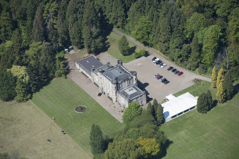 Oblique aerial view of Melville Castle, looking NW.