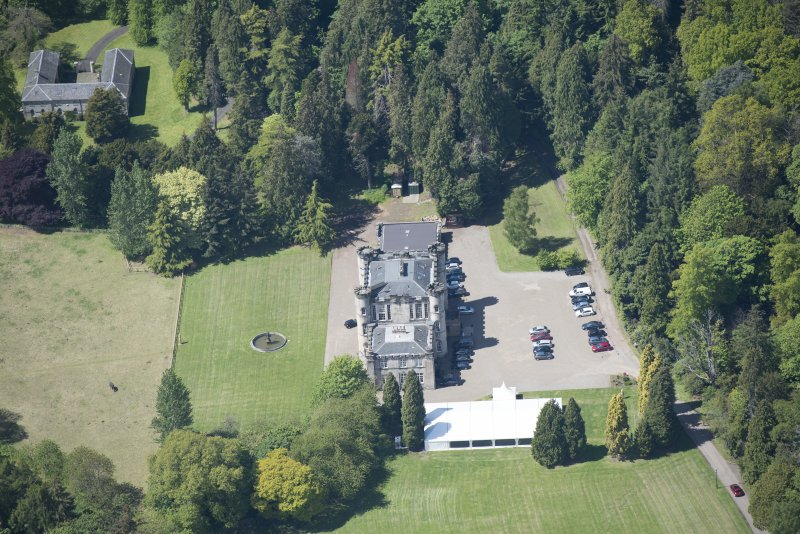 Oblique aerial view of Melville Castle, looking W.