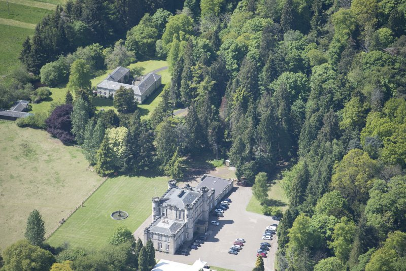 Oblique aerial view of Melville Castle, looking WSW.