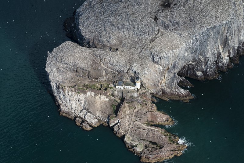 Oblique aerial view of part of the Bass Rock centred on the lighthouse, looking NNW.