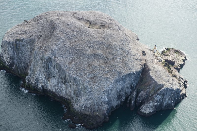 Oblique aerial view of the Bass Rock, looking SE.