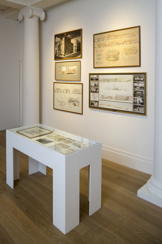 General view of Archive items in memorial exhibition to Sir Anthony Wheeler at Royal Scottish Academy, The Mound, Edinburgh