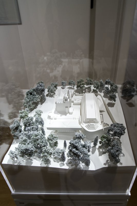 General view of model of Cardross Seminary in memorial exhibition to Sir Anthony Wheeler at Royal Scottish Academy, The Mound, Edinburgh