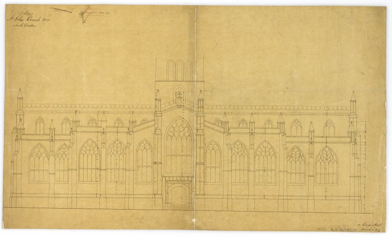 "One of copy set of plans by William Burn: No 5-South Elevation Signed and Dated ""131 George Street   March 18th 1829"""