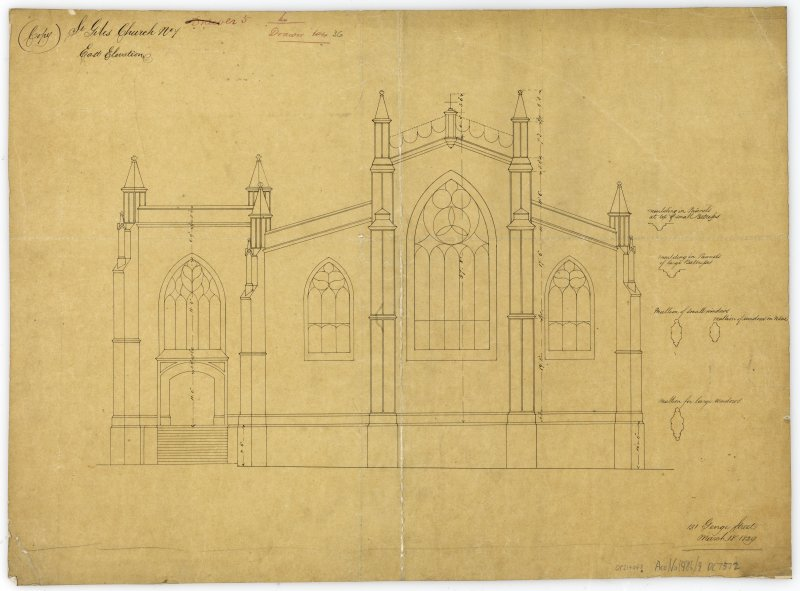 "One of copy set of plans by William Burn: No 7-East Elevation Signed and Dated ""131 George Street   March 18th 1829"""