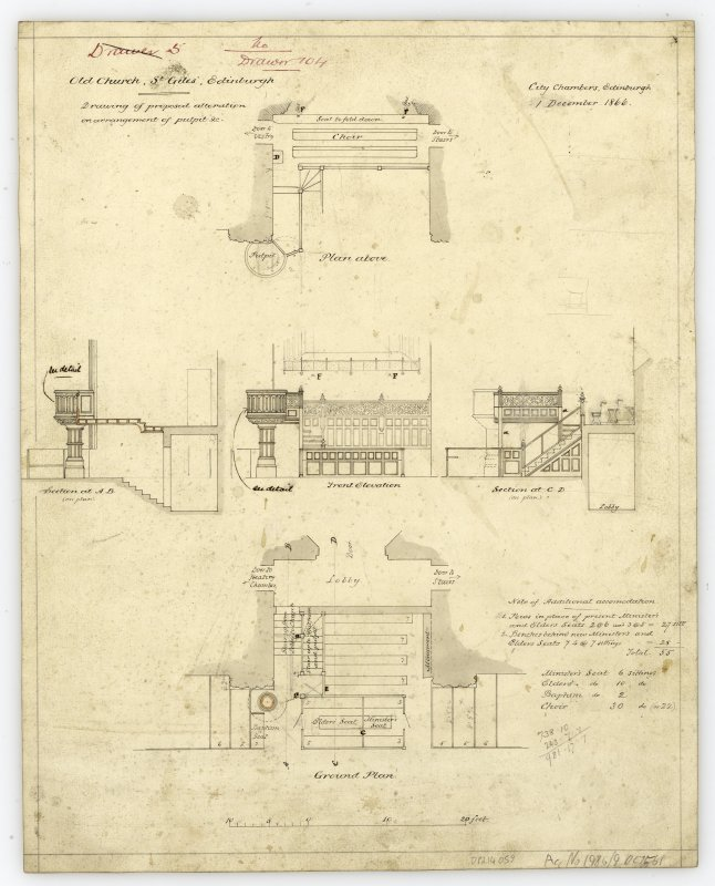 "One of copy set of plans by William Burn: No 4-North Elevation Signed and Dated ""131 George Street   March 18th 1829"""
