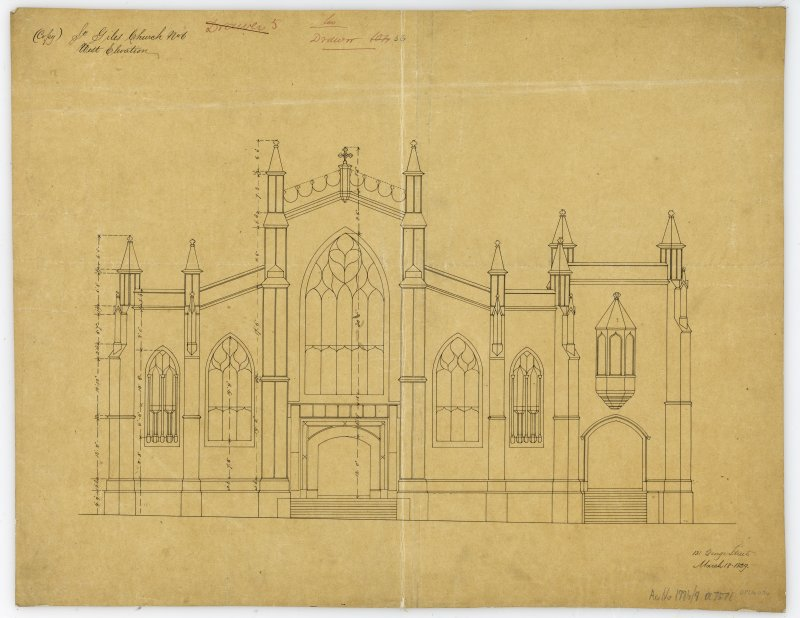 "One of copy set of plans by William Burn: No 6-West Elevation Signed and Dated ""131 George Street   March 18th 1829"""