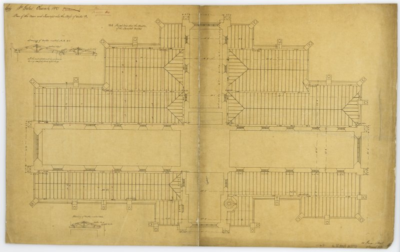 "One of copy set of plans by William Burn: No 3-Plan of the Nave and Transept, also the roofs of Aisles Signed and Dated ""131 George Street   March 18th 1829"""