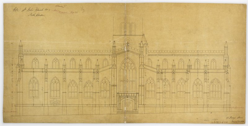 "One of 4 sheets relating to rearrangement of Pulpit in Old Church: Drawing of proposed alteration on arrangement of pulpit &c. Signed and Dated ""City Chambers Edinburgh  1 December 1866"""