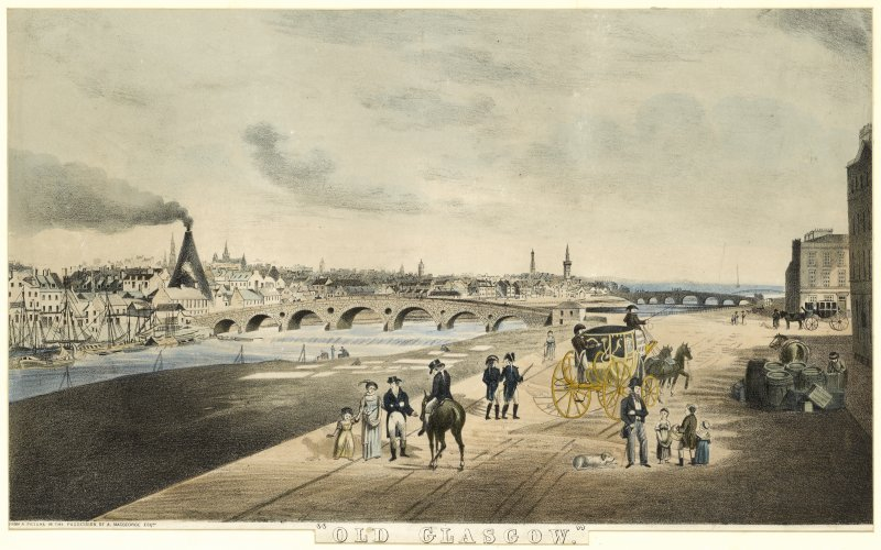View of Glasgow and bridges over the Clyde with an horse-drawn carriage and figures in the foreground.