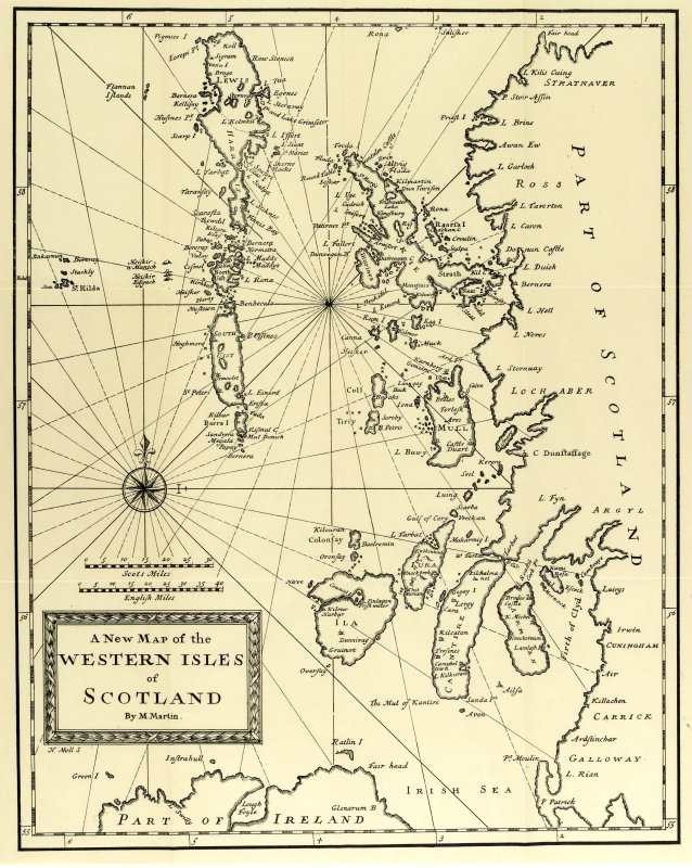 A New Map of the Western Isles of Scotland by M Martin, after H Moll. Copied from the 1934 edition.
