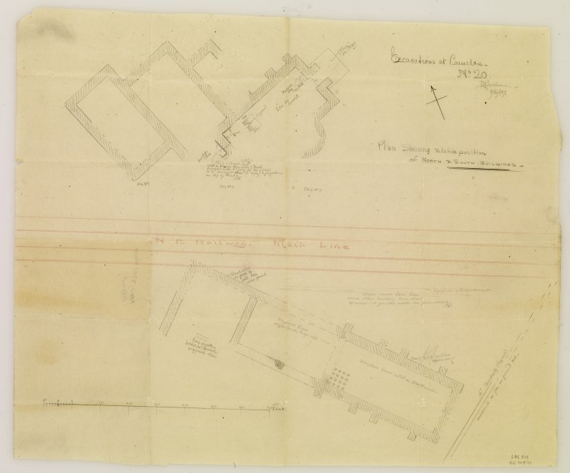 Excavation drawing showing plan of relative position of north and south buildings at Camelon Roman fort.