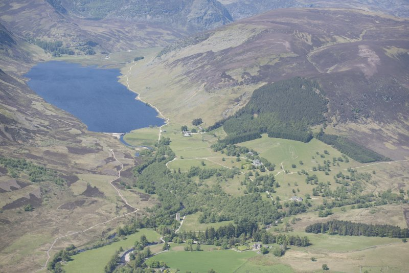 General oblique aerial view of Lochlee with Invermark Castle in the foreground, looking W.