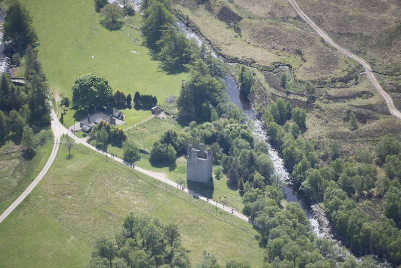 Oblique aerial view of Invermark Castle, looking SE.