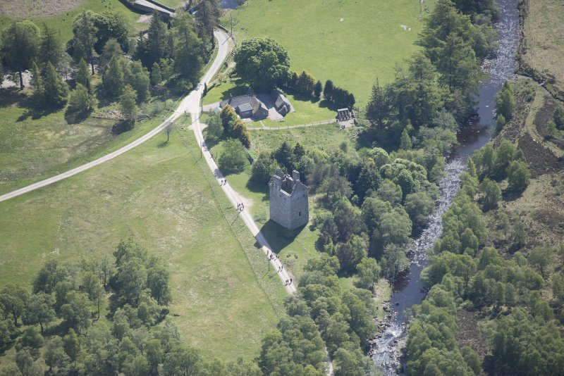 Oblique aerial view of Invermark Castle, looking ESE.