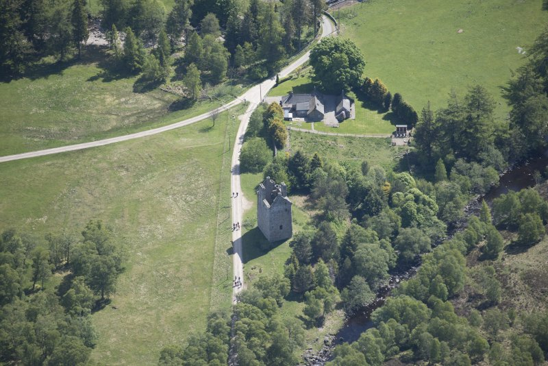 Oblique aerial view of Invermark Castle, looking E.