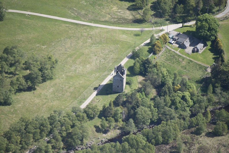 Oblique aerial view of Invermark Castle, looking ENE.